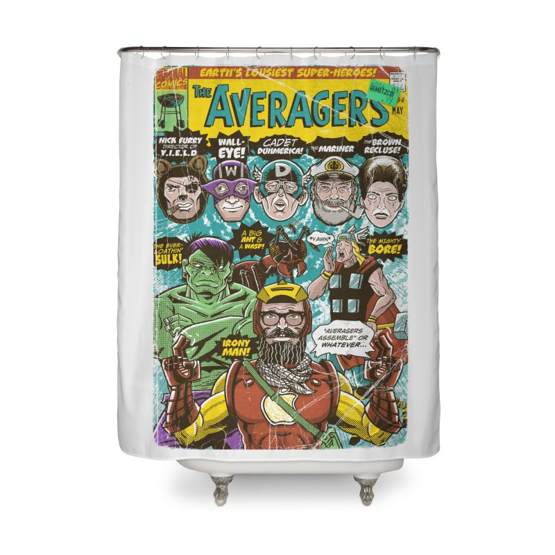 the Averagers Home Shower Curtain by Gimetzco's Damaged Goods