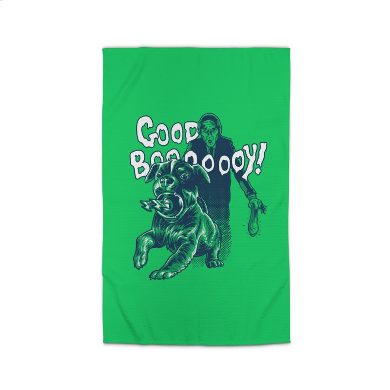 Good Boy (green)! Home Rug by Gimetzco's Damaged Goods