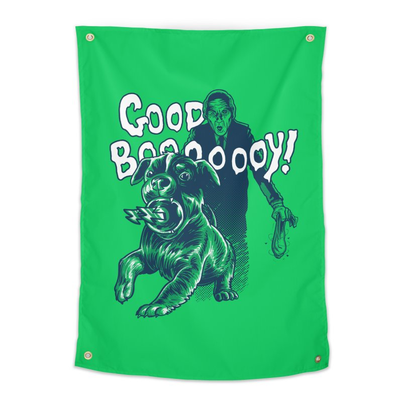 Good Boy (green)! Home Tapestry by Gimetzco's Damaged Goods