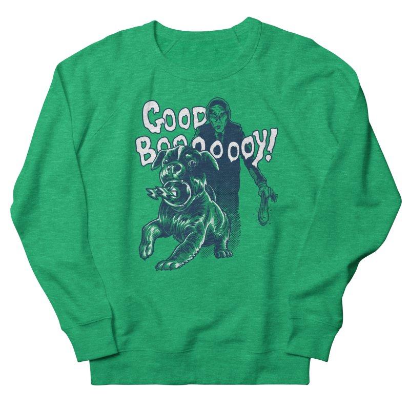 Good Boy (green)! Men's French Terry Sweatshirt by Gimetzco's Damaged Goods