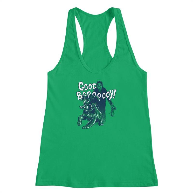 Good Boy (green)! Women's Racerback Tank by Gimetzco's Damaged Goods