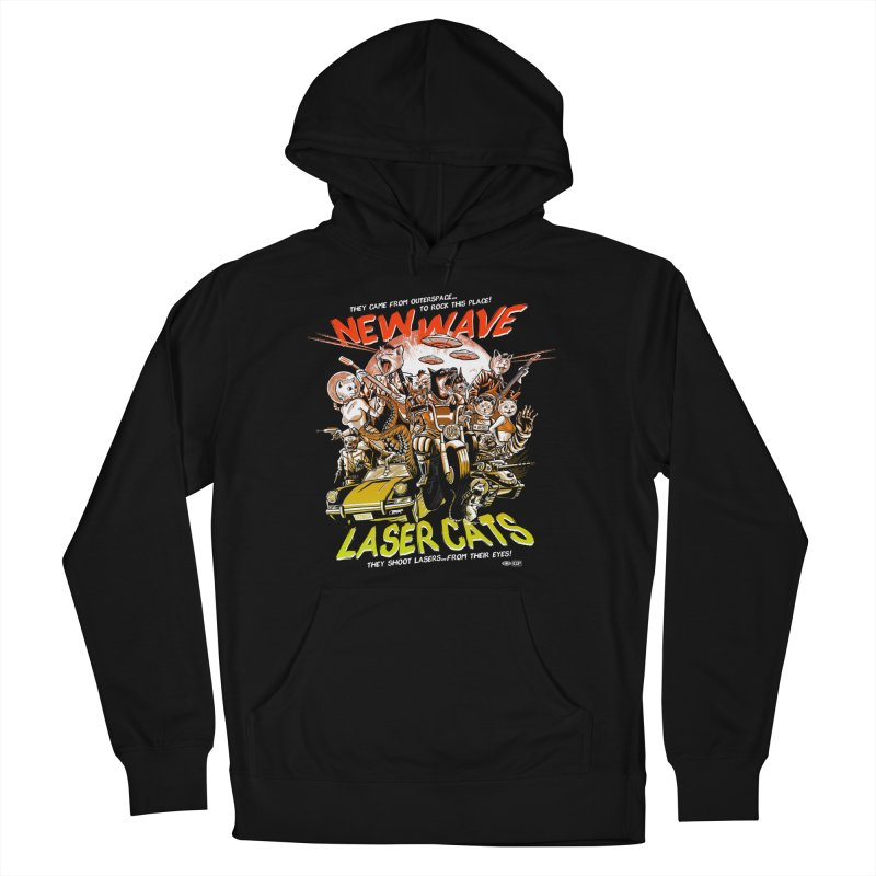 New wave laser cats Men's French Terry Pullover Hoody by Gimetzco's Damaged Goods