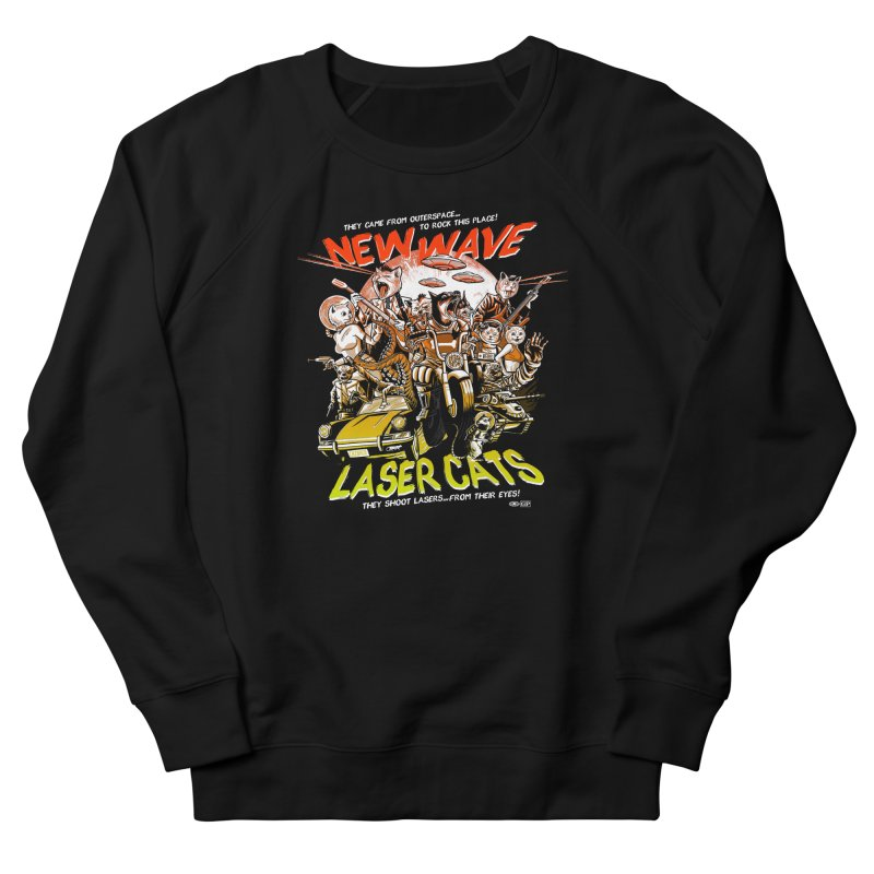 New wave laser cats Men's French Terry Sweatshirt by Gimetzco's Damaged Goods