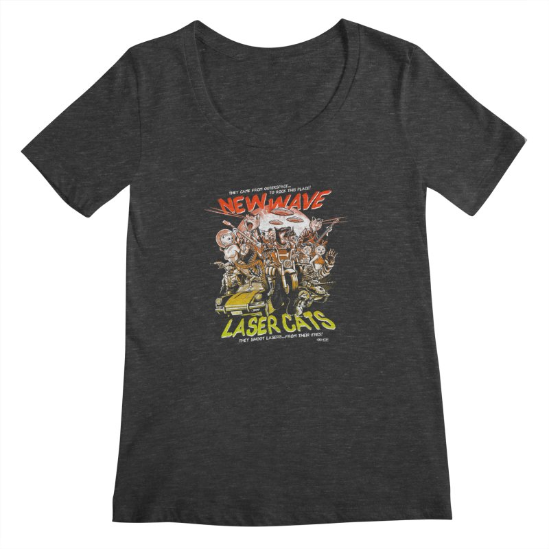 New wave laser cats Women's Scoopneck by Gimetzco's Damaged Goods