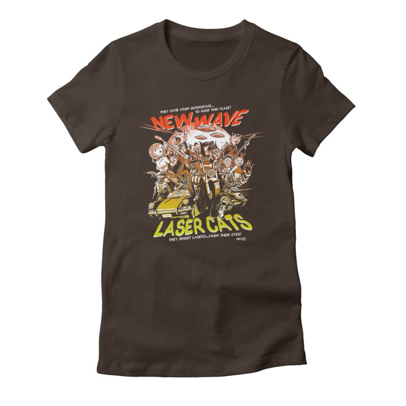 New wave laser cats Women's Fitted T-Shirt by Gimetzco's Damaged Goods