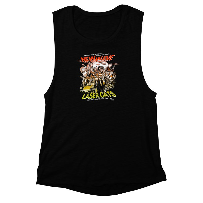 New wave laser cats Women's Muscle Tank by Gimetzco's Damaged Goods