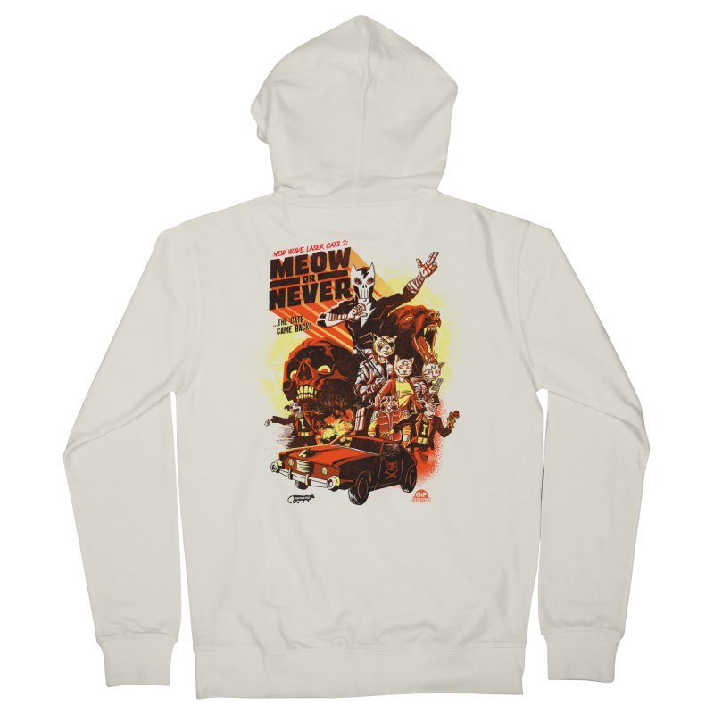 New wave laser cats 2: meow or never Men's French Terry Zip-Up Hoody by Gimetzco's Damaged Goods