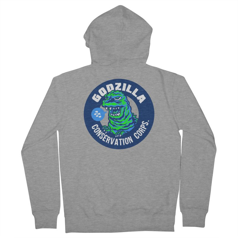Godzilla Conservation Corps. Women's French Terry Zip-Up Hoody by Gimetzco's Damaged Goods