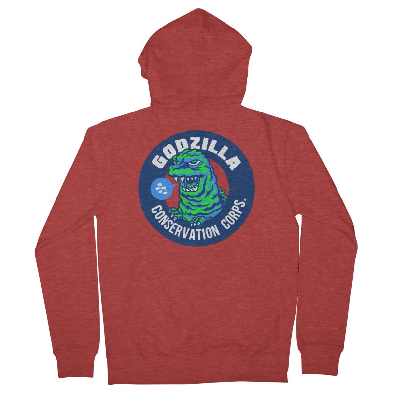 Godzilla Conservation Corps. Men's French Terry Zip-Up Hoody by Gimetzco's Damaged Goods