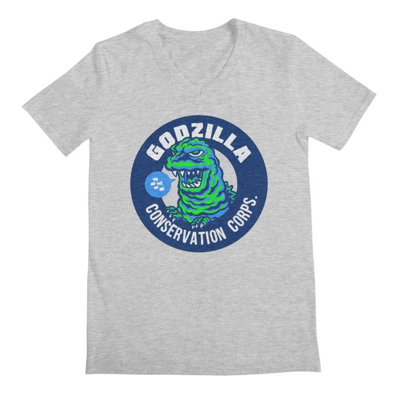 Godzilla Conservation Corps. Men's Regular V-Neck by Gimetzco's Damaged Goods