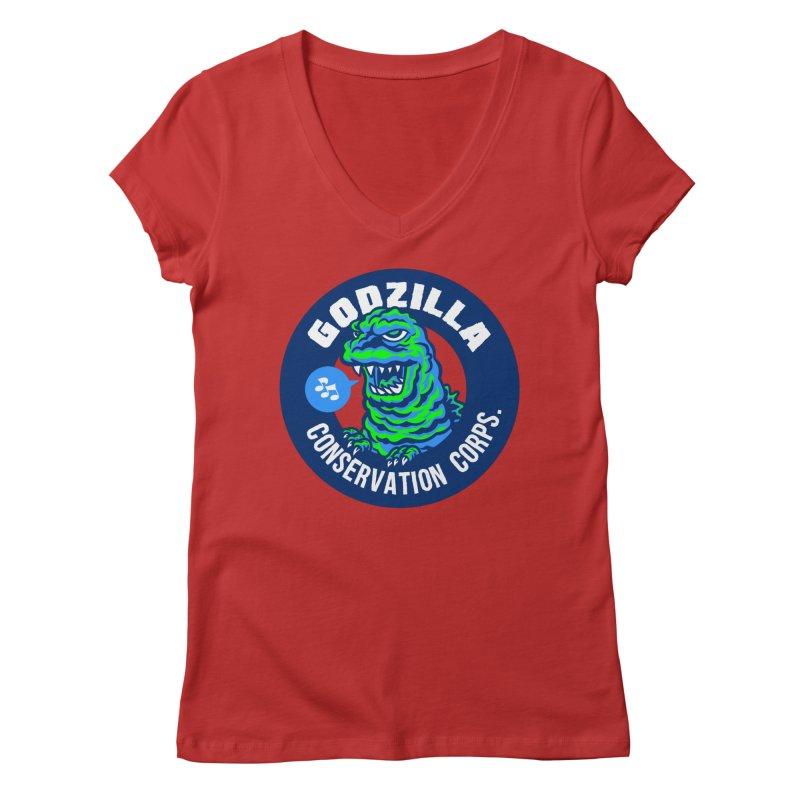 Godzilla Conservation Corps. Women's Regular V-Neck by Gimetzco's Damaged Goods