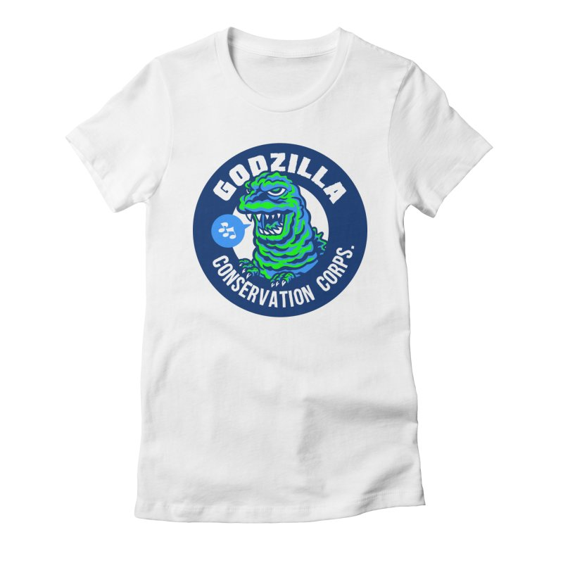Godzilla Conservation Corps. Women's Fitted T-Shirt by Gimetzco's Damaged Goods