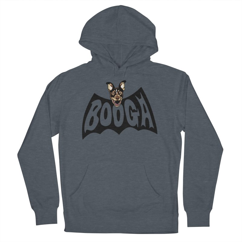 Booga in a batshape Men's French Terry Pullover Hoody by Gimetzco's Damaged Goods
