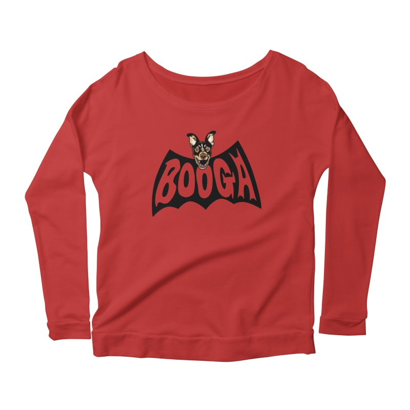 Booga in a batshape Women's Scoop Neck Longsleeve T-Shirt by Gimetzco's Damaged Goods