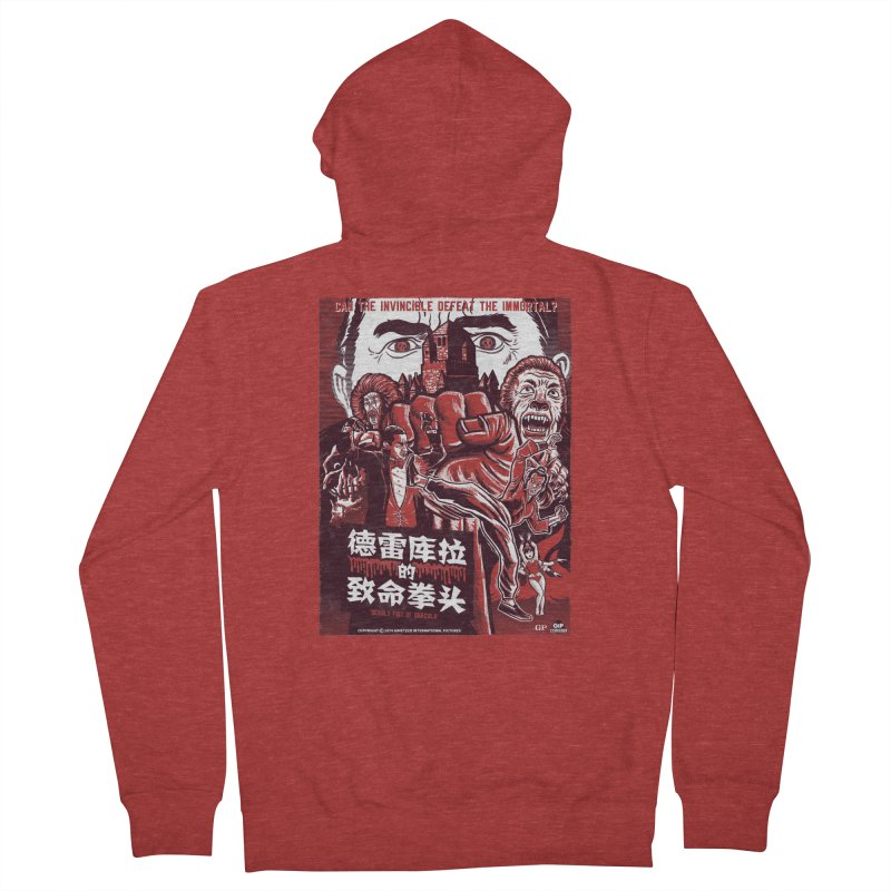DEADLY FIST OF DRACULA Men's French Terry Zip-Up Hoody by Gimetzco's Damaged Goods