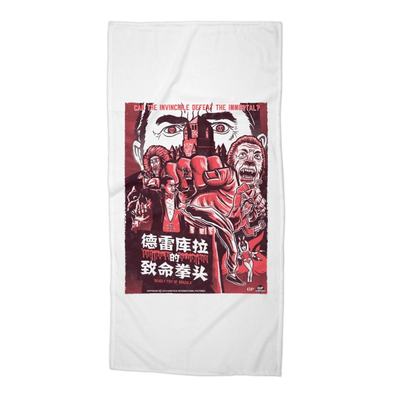 DEADLY FIST OF DRACULA (light shirt variant) Accessories Beach Towel by Gimetzco's Damaged Goods