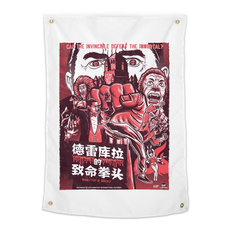 DEADLY FIST OF DRACULA (light shirt variant) Home Tapestry by Gimetzco's Damaged Goods