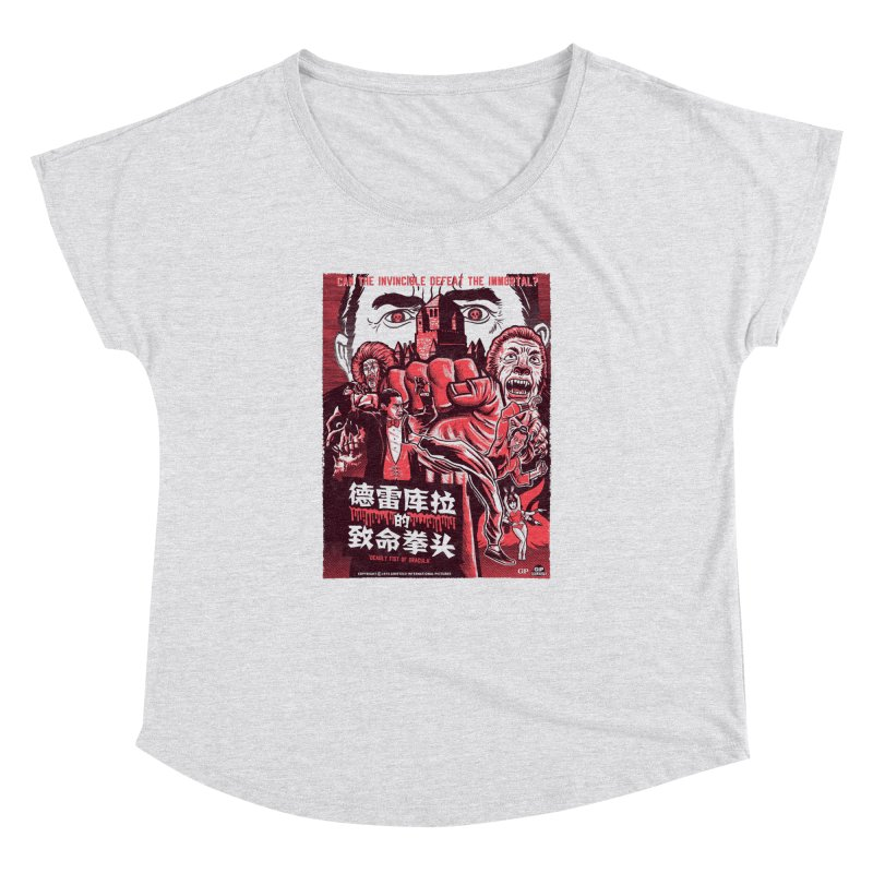 DEADLY FIST OF DRACULA (light shirt variant) Women's Dolman Scoop Neck by Gimetzco's Damaged Goods