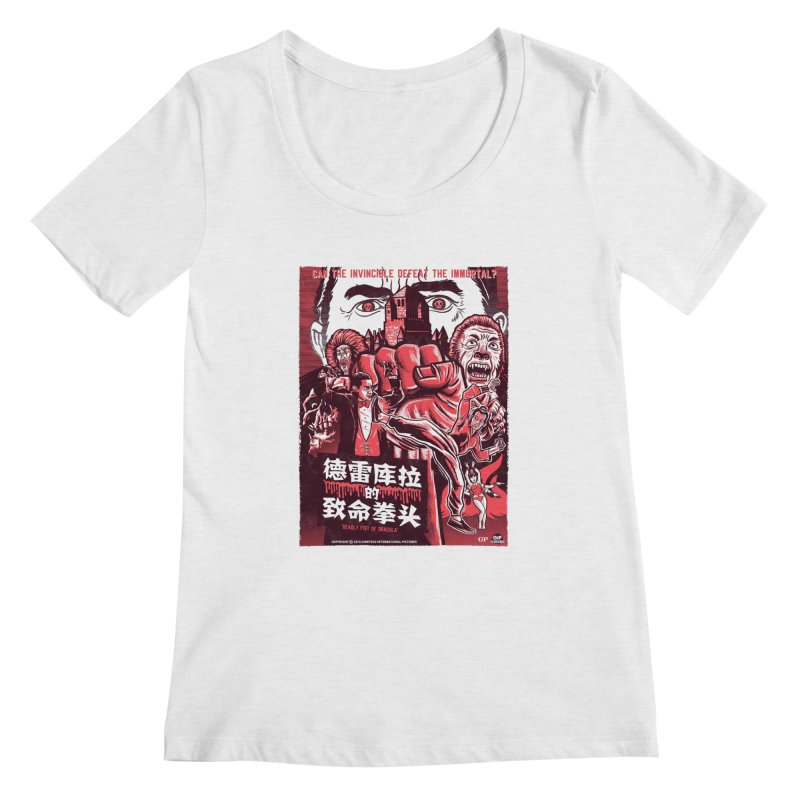 DEADLY FIST OF DRACULA (light shirt variant) Women's Regular Scoop Neck by Gimetzco's Damaged Goods