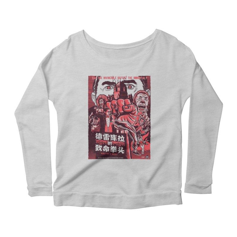 DEADLY FIST OF DRACULA (light shirt variant) Women's Scoop Neck Longsleeve T-Shirt by Gimetzco's Damaged Goods