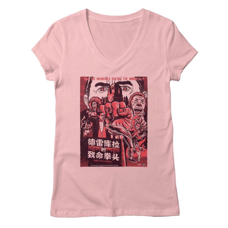 DEADLY FIST OF DRACULA (light shirt variant) Women's Regular V-Neck by Gimetzco's Damaged Goods