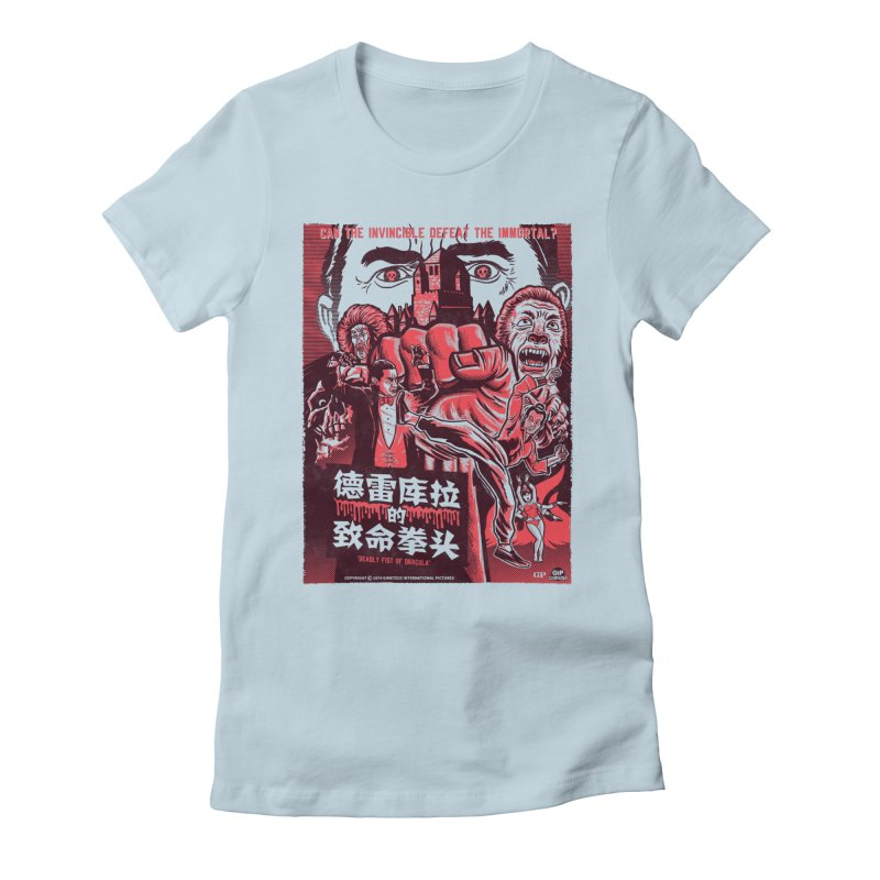 DEADLY FIST OF DRACULA (light shirt variant) Women's Fitted T-Shirt by Gimetzco's Damaged Goods