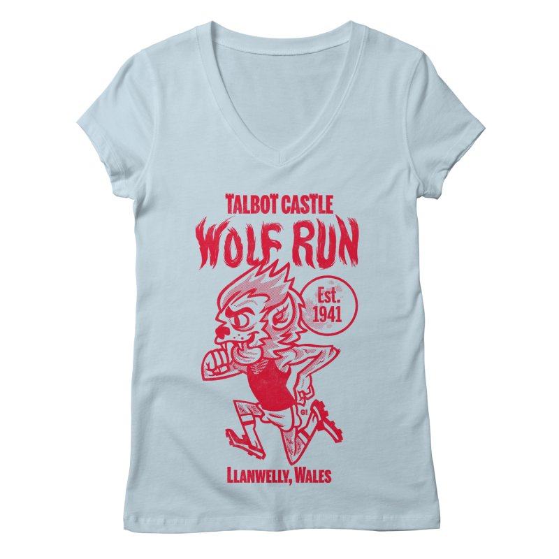 talbot castle wolf run Women's Regular V-Neck by Gimetzco's Damaged Goods