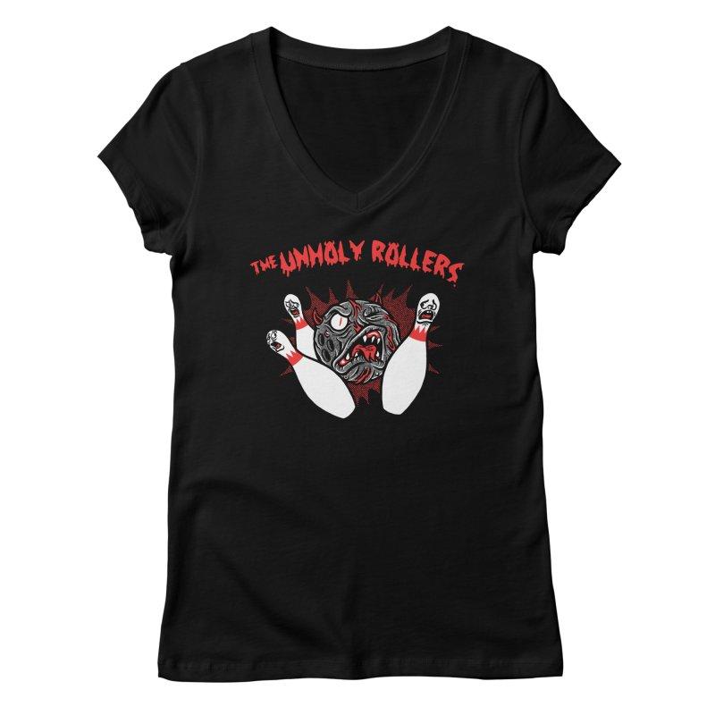The Unholy Rollers Women's Regular V-Neck by Gimetzco's Damaged Goods