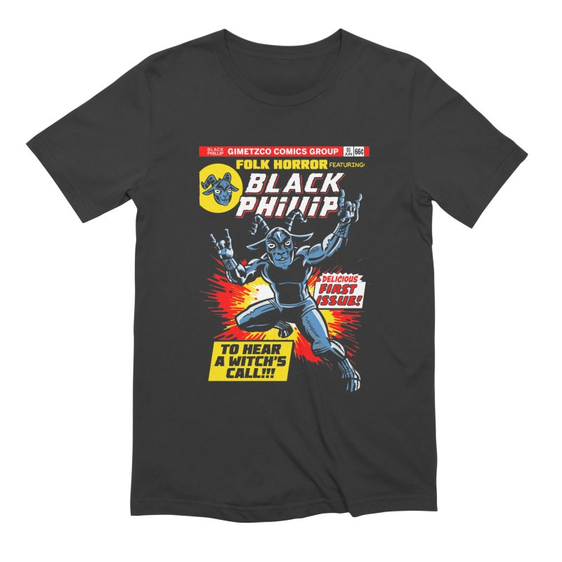 Folk horror featuring: Black Phillip Men's Extra Soft T-Shirt by Gimetzco's Damaged Goods