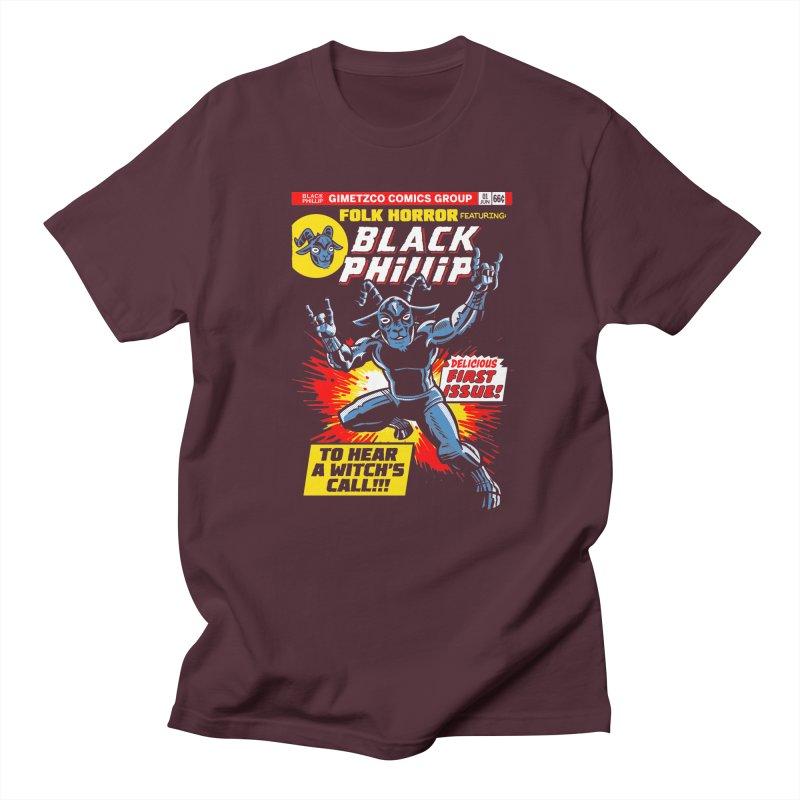 Folk horror featuring: Black Phillip Women's Regular Unisex T-Shirt by Gimetzco's Damaged Goods