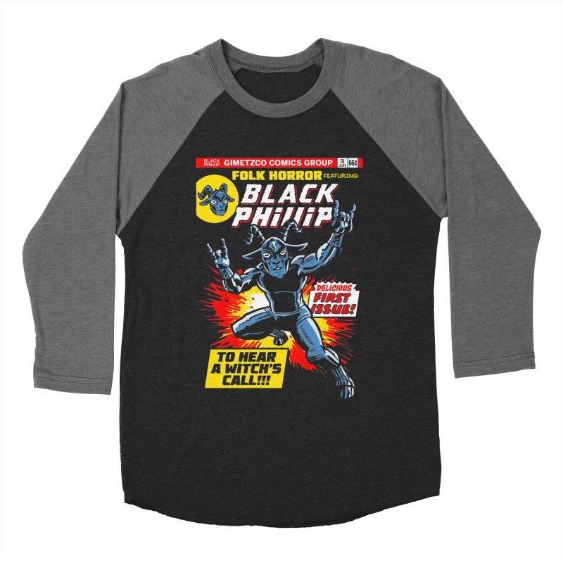 Folk horror featuring: Black Phillip Women's Baseball Triblend Longsleeve T-Shirt by Gimetzco's Damaged Goods