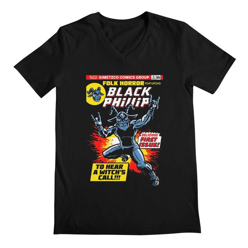 Folk horror featuring: Black Phillip Men's Regular V-Neck by Gimetzco's Damaged Goods