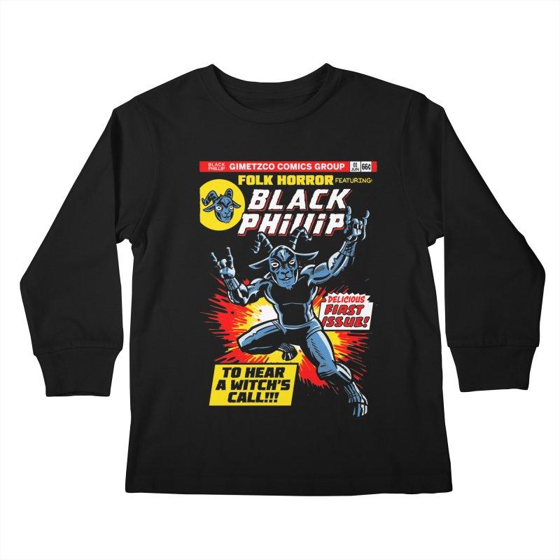 Folk horror featuring: Black Phillip Kids Longsleeve T-Shirt by Gimetzco's Damaged Goods