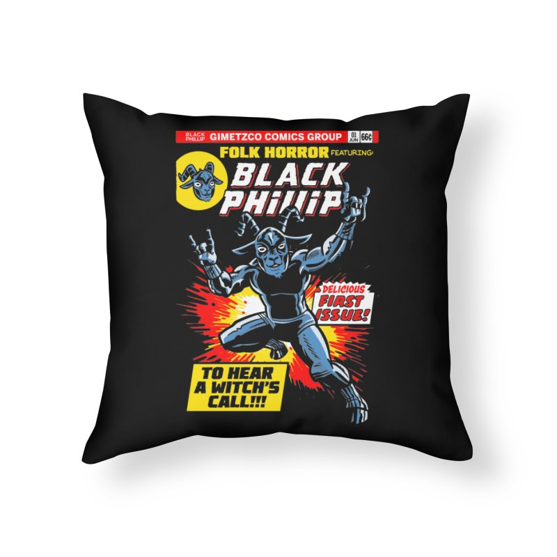 Folk horror featuring: Black Phillip Home Throw Pillow by Gimetzco's Damaged Goods