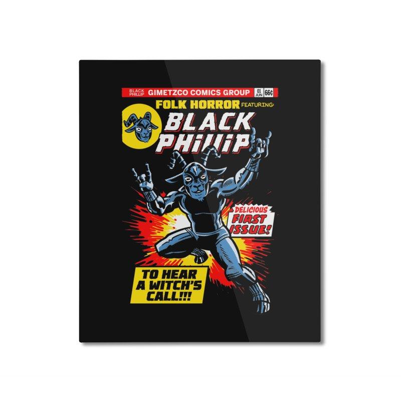 Folk horror featuring: Black Phillip Home Mounted Aluminum Print by Gimetzco's Damaged Goods