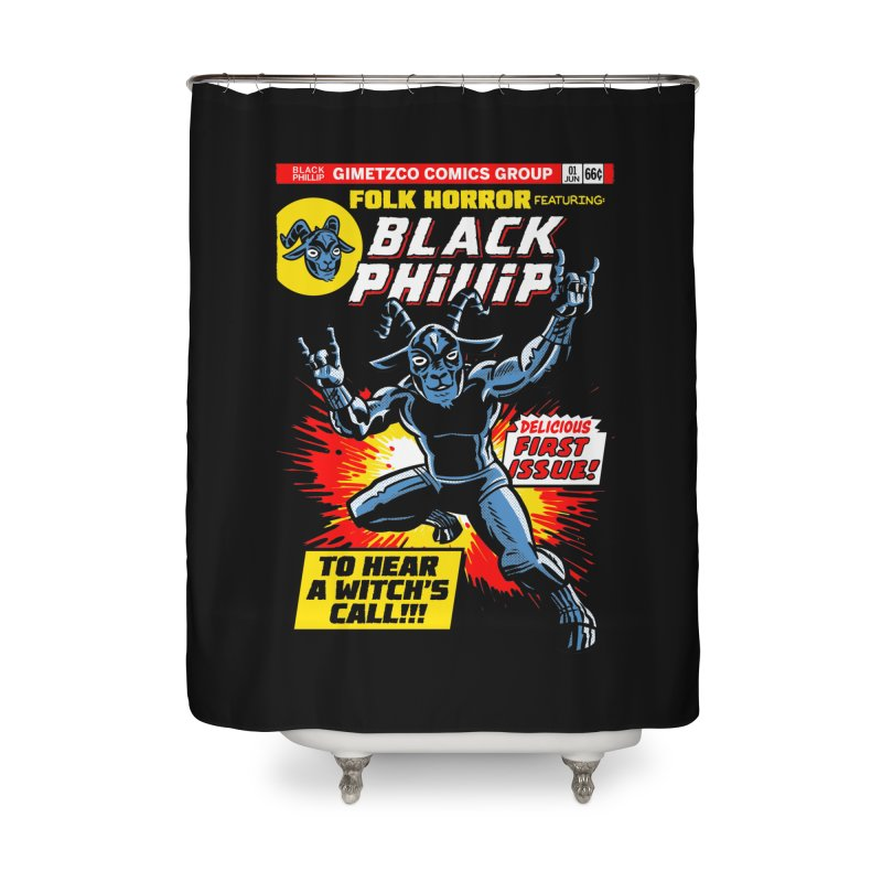 Folk horror featuring: Black Phillip Home Shower Curtain by Gimetzco's Damaged Goods
