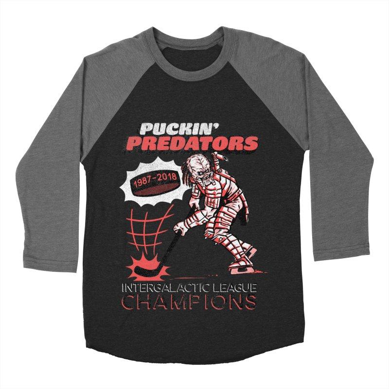 Puckin' Predators Men's Baseball Triblend Longsleeve T-Shirt by Gimetzco's Damaged Goods