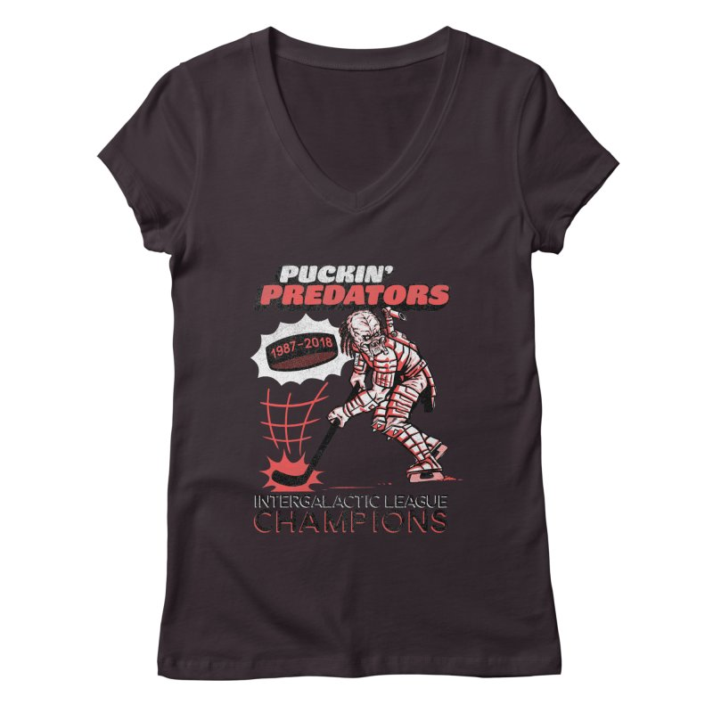 Puckin' Predators Women's Regular V-Neck by Gimetzco's Damaged Goods