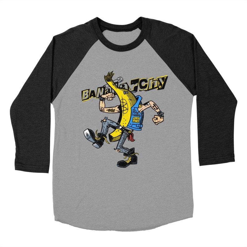 bananarchy Women's Baseball Triblend Longsleeve T-Shirt by Gimetzco's Damaged Goods