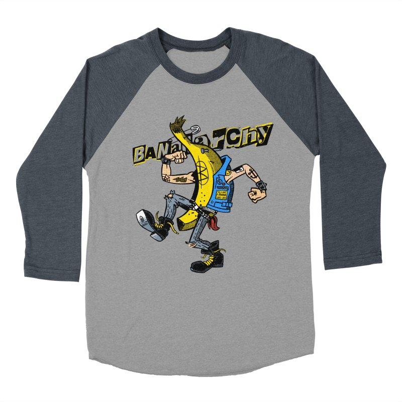 bananarchy Men's Baseball Triblend Longsleeve T-Shirt by Gimetzco's Damaged Goods