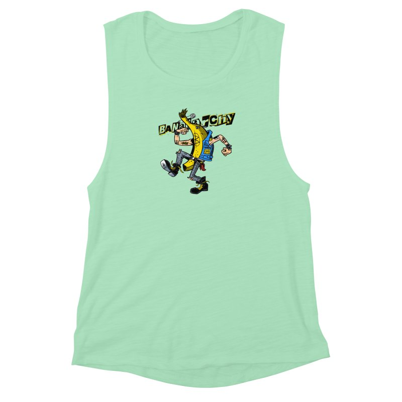 bananarchy Women's Muscle Tank by Gimetzco's Damaged Goods