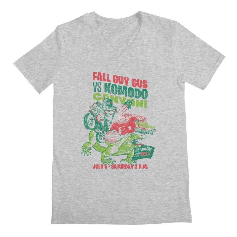 Fall Guy Gus Men's Regular V-Neck by Gimetzco's Damaged Goods