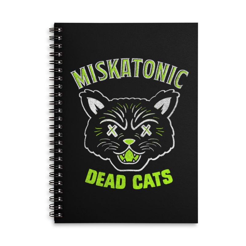 MISKATONIC DEAD CATS Accessories Lined Spiral Notebook by Gimetzco's Damaged Goods