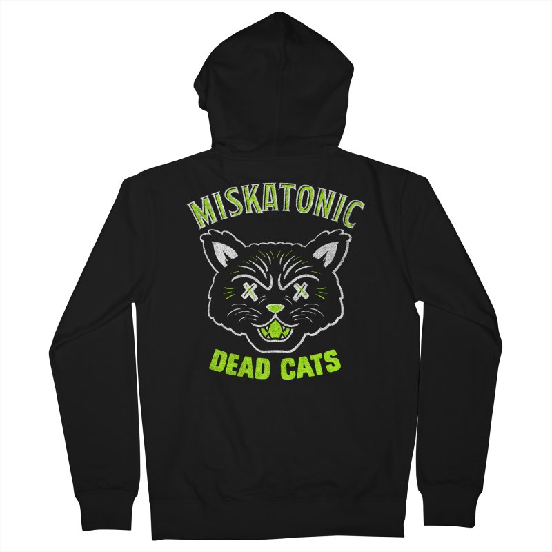MISKATONIC DEAD CATS Men's French Terry Zip-Up Hoody by Gimetzco's Damaged Goods