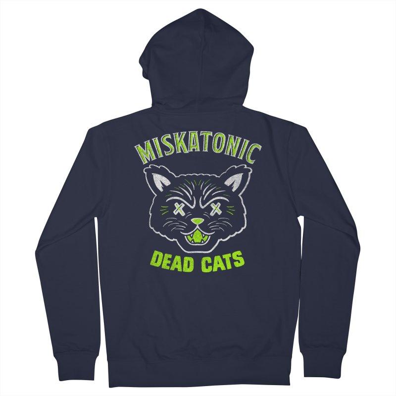 MISKATONIC DEAD CATS Men's French Terry Zip-Up Hoody by Gimetzco's Damaged Goods