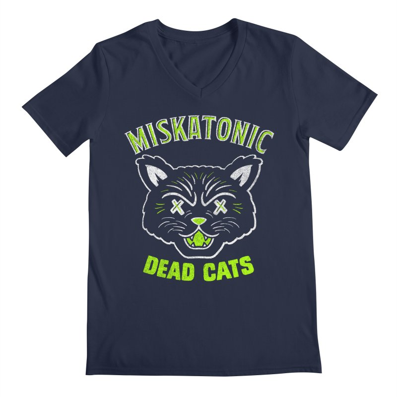 MISKATONIC DEAD CATS Men's Regular V-Neck by Gimetzco's Damaged Goods