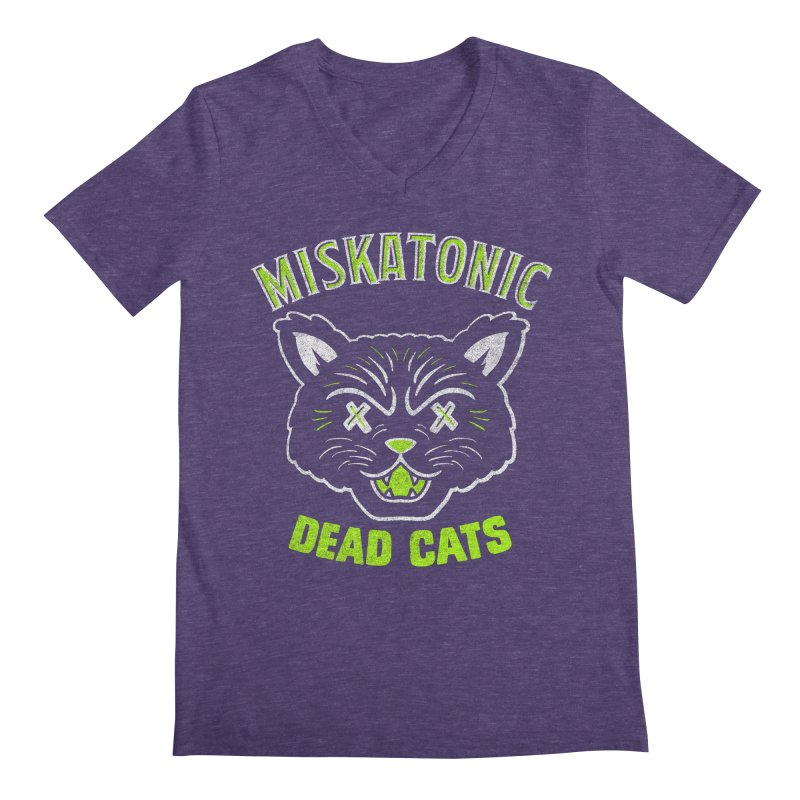 MISKATONIC DEAD CATS Men's Regular V-Neck by Gimetzco's Damaged Goods