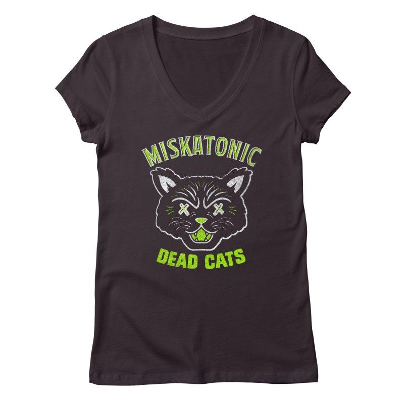 MISKATONIC DEAD CATS Women's Regular V-Neck by Gimetzco's Damaged Goods