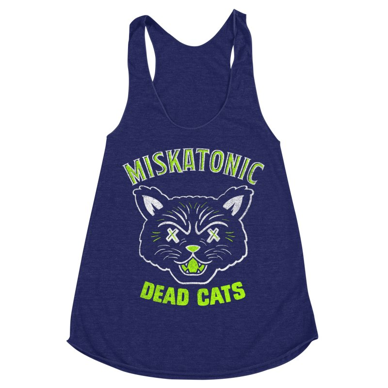 MISKATONIC DEAD CATS Women's Racerback Triblend Tank by Gimetzco's Damaged Goods