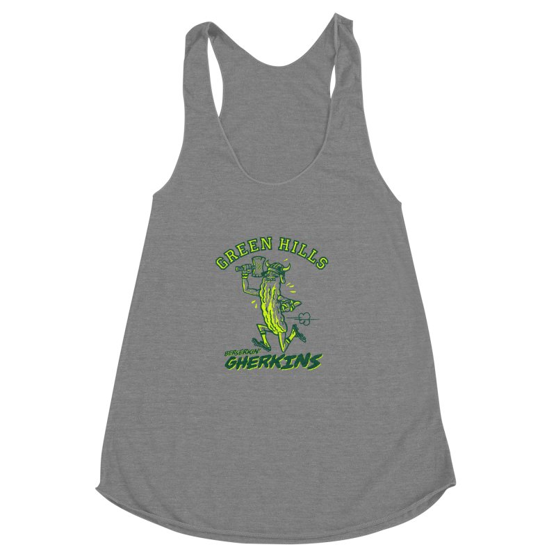 Berserkin' Gherkins Women's Racerback Triblend Tank by Gimetzco's Damaged Goods
